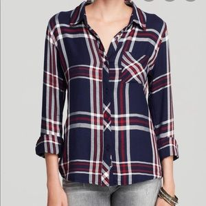 Rails Navy Red and White Plaid Flannel Shirt